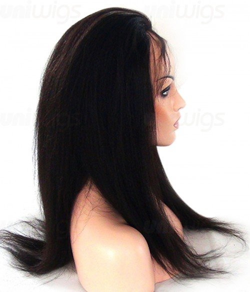Custom Kinky Straight 100% Remy Human Hair Lace Wig