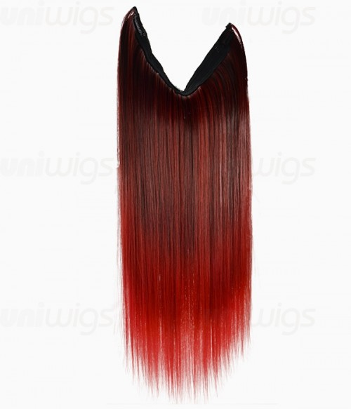 """20"""" Ombre Red Straight Heat Friendly Synthetic Flip & Clip In Hair Extension"""