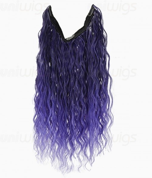 """20"""" Ombre Purple Curly Heat Friendly Synthetic Flip & Clip In Hair Extension"""