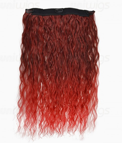 """20"""" Ombre Red Curly Heat Friendly Synthetic Flip & Clip In Hair Extension"""