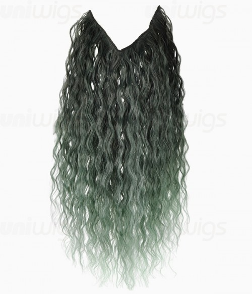 "20"" Ombre Green Curly Heat Friendly Synthetic Flip & Clip In Hair Extension"
