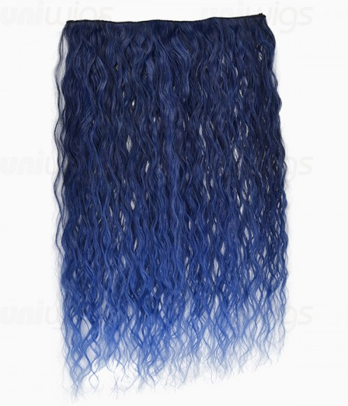 "20"" Ombre Blue Curly Heat Friendly Synthetic Flip & Clip In Hair Extension"