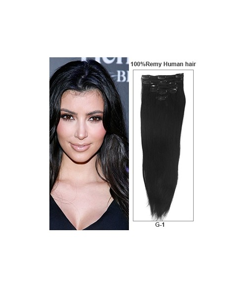 """24"""" Jet Black 7 Pieces Straight Clip In Indian Remy Human Hair Extension E724001STW-G-1"""
