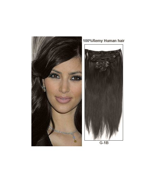 """16"""" Off Black 9 Pieces Straight Clip In Indian Remy Human Hair Extension E916001STW-G-1B"""