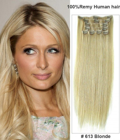 """20"""" Virgin Remy Human Hair 8 Pieces Set Clip In Extension"""