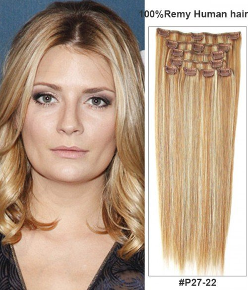 """18"""" Virgin Remy Human Hair Piano Color 8 Pieces Set Clip In Extension"""