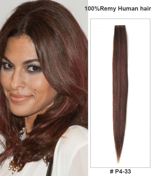"16"" Piano Color Virgin Remy Human Hair 20 Pieces Set Tape Hair Extension"