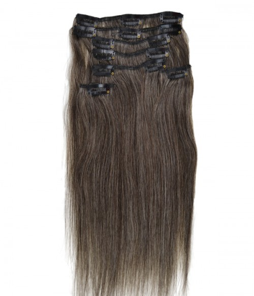 "16"" Grey 7 Pieces Straight Clip In Remy Human Hair Extension E716001STW-G-1B60"