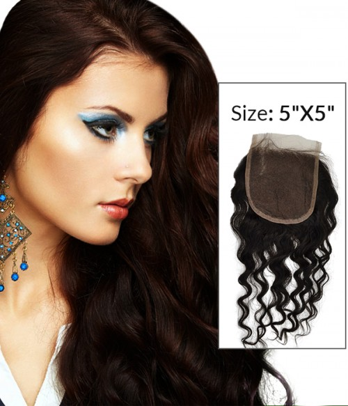 "8-20"" 5""x5"" Loose Curly Free Part/Middle Part/Three Part Brazilian Remy Human Hair Lace Closure"