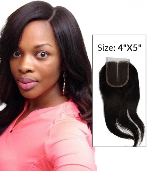 "8-20"" 4""x5"" Natural Straight Free Part/Middle Part/Three Part Brazilian Remy Human Hair Lace  Closure"