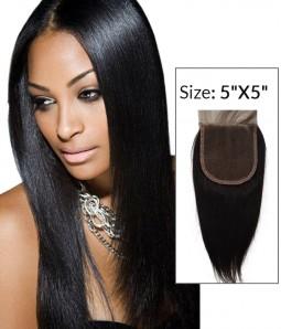"5""x5"" Yaki Straight Brazilian Remy Human Hair Lace  Hair Topper"