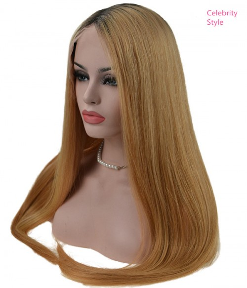 Tamar Straight  Remy Human Hair Ombre Color Lace Wig