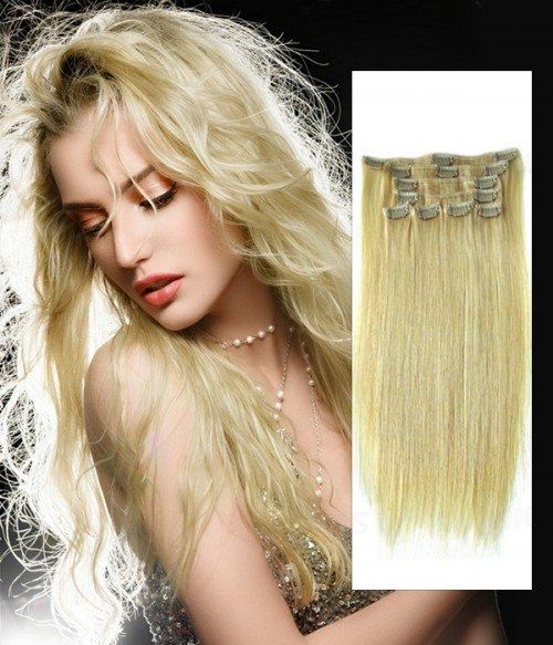 COLOR DIY - White Blonde Remy Human Hair Clip In Extension