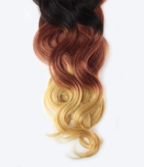 """18"""" Triple Ombre Color 7 Pieces Body Wave Clip In Virgin Remy Human Hair Extension T1B3327"""
