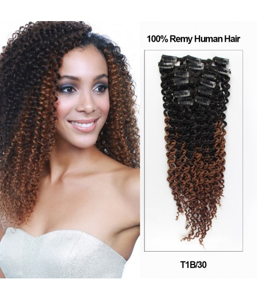 "18"" Ombre Color 7 Pieces Afro Curly Clip In Remy Human Hair Extension TIB30"
