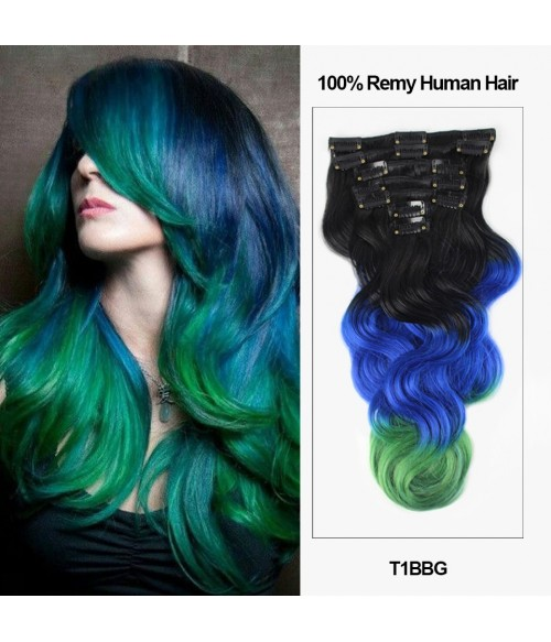 "18"" 7 Pieces Triple Ombre Color Body Wave Clip In Virgin Remy Human Hair Extension T1BBG"