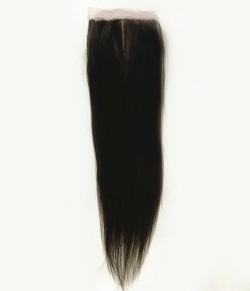 "5""x5"" Straight Brazilian Remy Human Hair Silk Top Lace Closure"