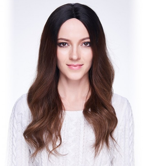 """Ciara 22"""" Wave Indian Remy Human Hair Ombre Color Full Lace Wig"""