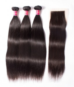 3 Bundles Straight Brazilian Virgin Hair Weave With 4*4 Lace Closure