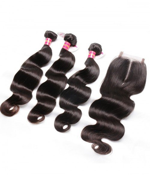 Body Wave Virgin Remy Human Hair 3 Bundles With Closure