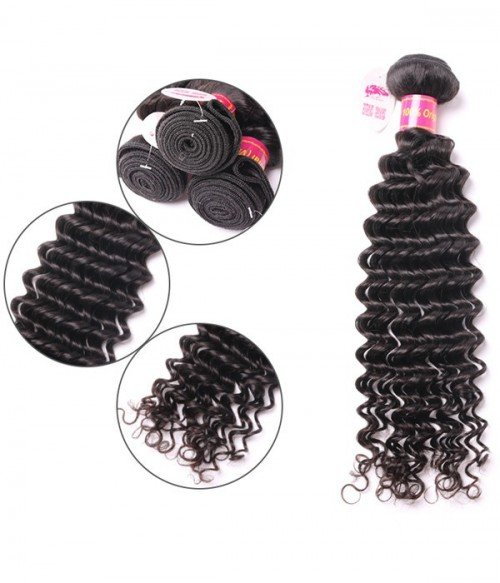 Deep Curly Virgin Remy Human Hair 3 Bundles With Closure