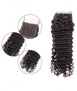 "Deep Curly 4""*4"" Brazilian Hair Lace Closure"