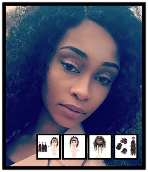 360 Lace Frontal With 3 Bundles Brazilian Virgin Hair Deep Curly Weave