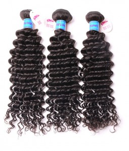 Unprocessed Deep Curly 6A Peruvian Virgin Human Hair Weave