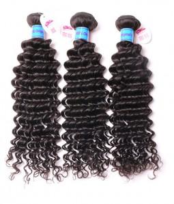 Unprocessed Deep Curly 6A Peruvian Virgin Human Hair Weave