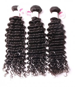 3 Bundles Deep Curly 6A Malaysian Unprocessed Virgin Human Hair Weave