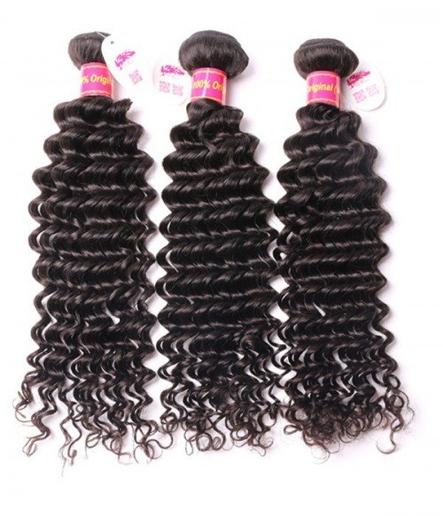 Unprocessed Deep Curly 13x4 Brazilian Lace Frontal With 3Pcs Human Hair Waves
