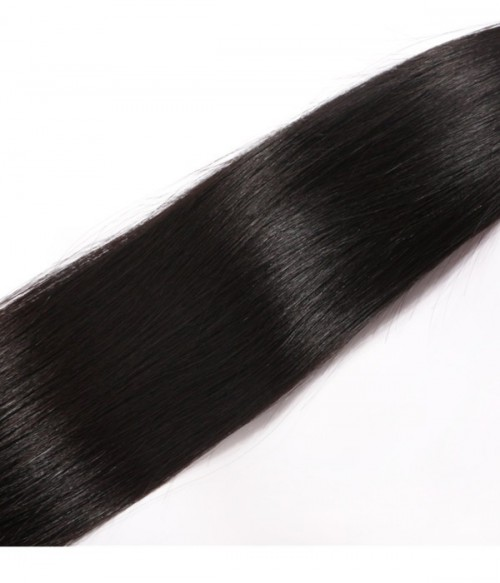 Unprocessed Straight 13x4 Peruvian Lace Frontal With 3Pcs Human Hair Waves