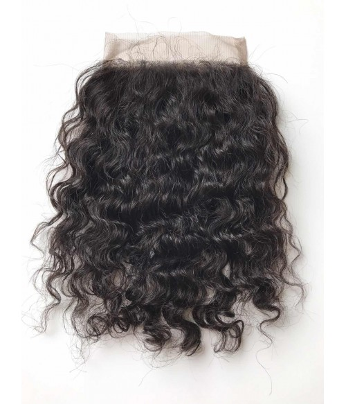 "8-20"" 5""x5"" Curly Free Part/Middle Part/Three Part Brazilian Remy Human Hair Lace Closure"