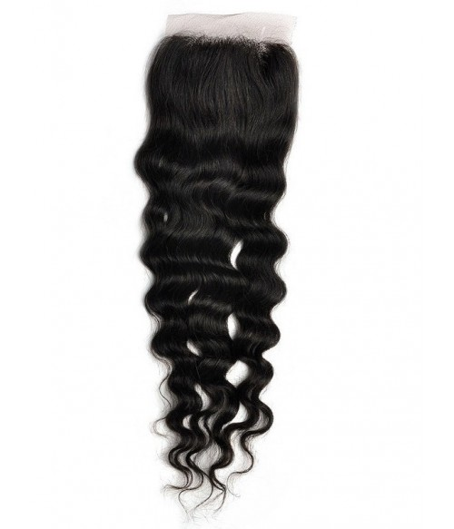 "8-20"" 4""x4"" Deep Wave Free Part/Middle Part Brazilian Remy Human Hair Lace Closure piece"