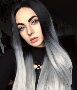Futura Silver Gray with Dark Roots Long Synthetic Lace Front Wig