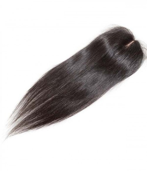 "16"" Natural Straight Brazilian Remy Human Hair Middle Part Lace Frontal (4""x5"")"