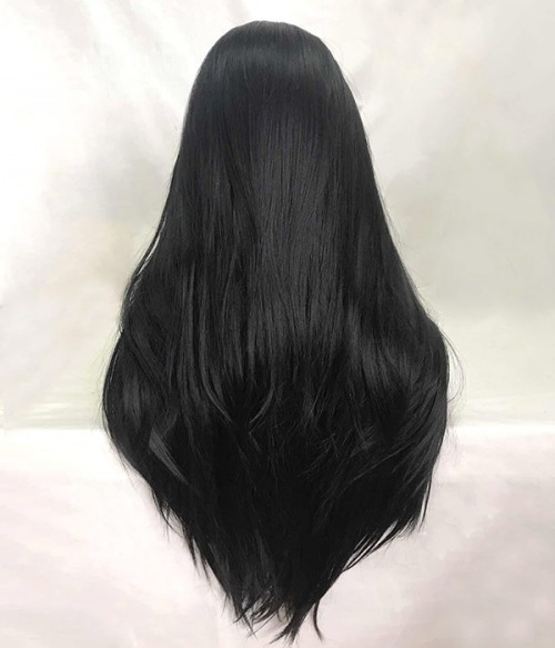 Black Long Layered Synthetic Lace Front Wig