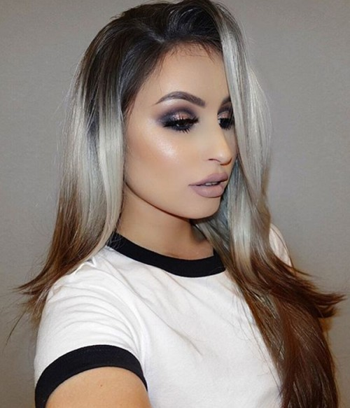 Bambi Gray Brown Ombre Long Layered Synthetic Lace Front Wig