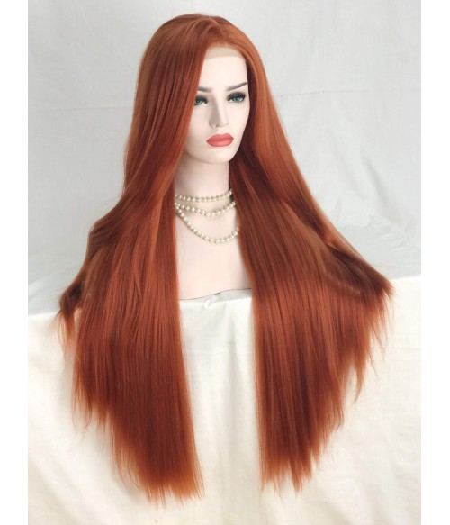 Autumn Twilight Vibrant Copper Red Long Silk Straight Synthetic Lace Front Wig