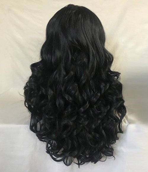 Magical Black Long Wavy Synthetic Lace Front Wig