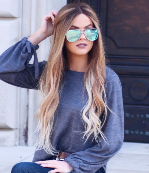 Lauren Conrad  Wave Remy Human Hair Ombre Color Lace Wig