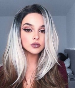 Bambi | Gray Brown Ombre Long Layered Synthetic Lace Front Wig