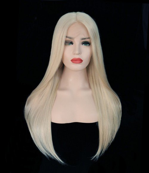 Rihanna Wave Remy Human Hair Ombre Color Lace Wig CL0444  --614 Ash Blonde - Ash blonde color without any root color