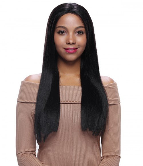 Straight Remy Human Hair Lace Wig - Natural Black