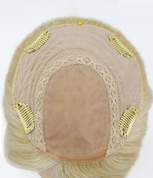 """6""""*6"""" Amber Silk Top Remy Human Hair Topper"""