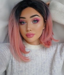 Twisted Berry Pink with Dark Roots Shoulder Length Synthetic Lace Front Wig