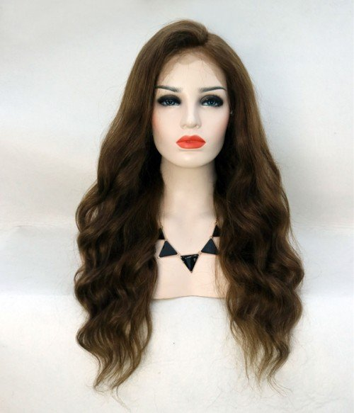 Natural Wave Remy Human Hair Lace Wig - Medium Brown