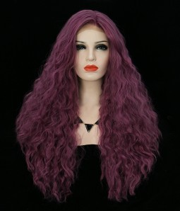 Purple Curly Synthetic Lace Front Wig