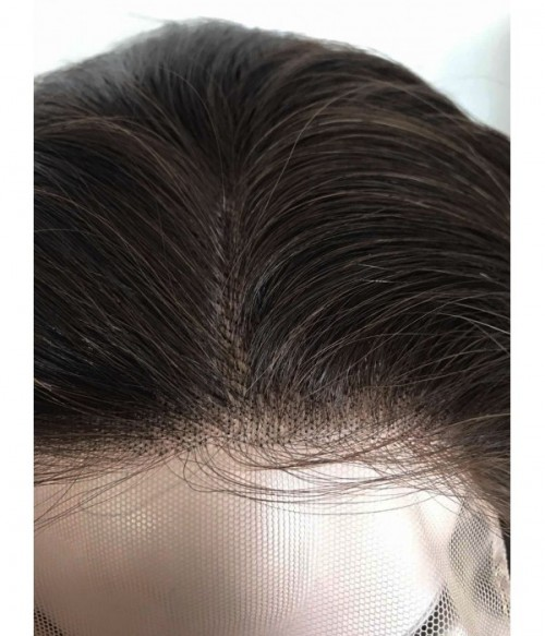 """6""""x6"""" Charleigh Straight Virgin Remy Human Hair Lace Hair Topper-darkest brown"""