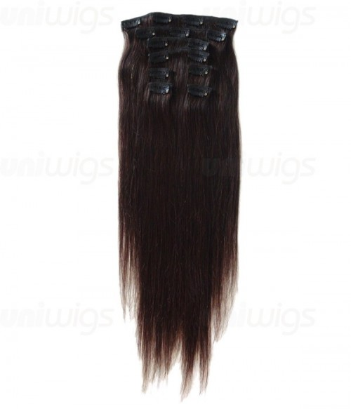"""16"""" 7 Piece Straight Clip In Remy Human Hair Extension E71601"""
